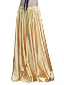 "Dance Fairy Belly Dance 37"" Long Satin Skirt, Full Circular Swing"